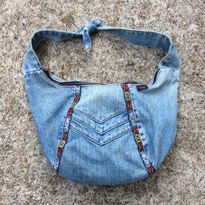 Vintage Denim Blue Jean Hobo Slouch Hobo Bag